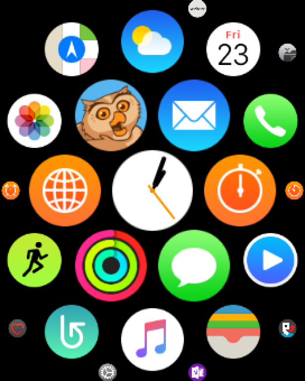 Ecran d'accueil de l'Apple Watch