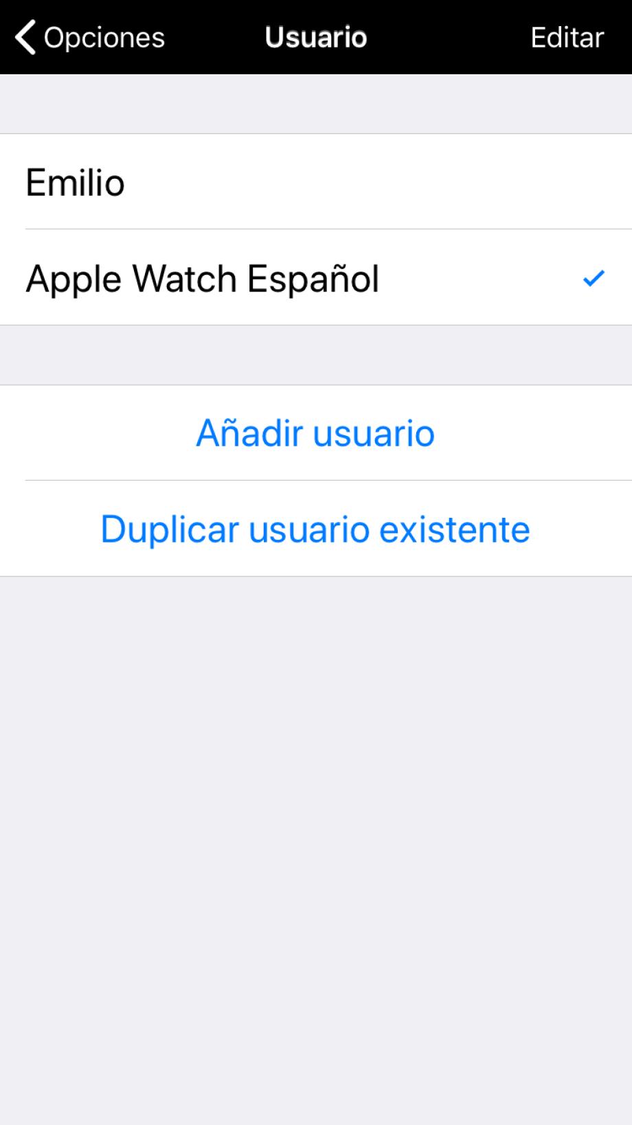 Usuarios disponibles en Proloquo2Go, Apple Watch aparece automáticamente