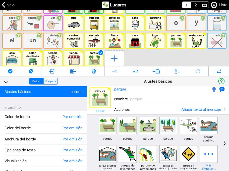 Ajustes básicos en modo Editar, mostrando símbolos sugeridos