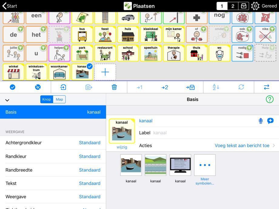 Modus wijzig functies voor het knoppen met symbool suggesties