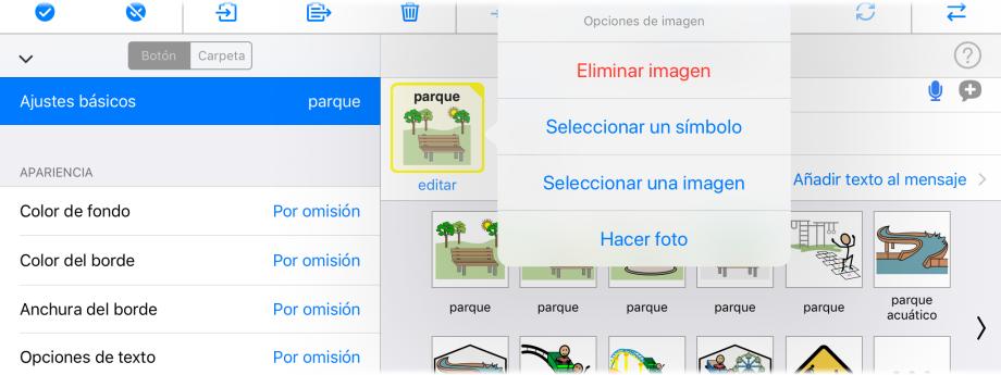 Captura de pantalla modo Edición, opciones de imagen