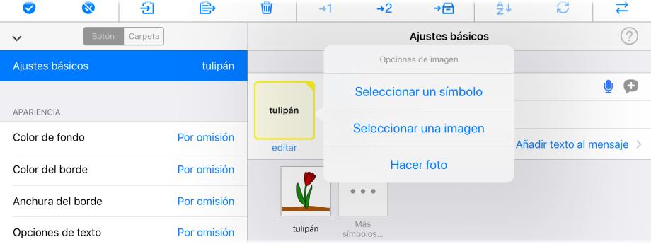 Captura de pantalla de  Opciones de imagen en menu Editar