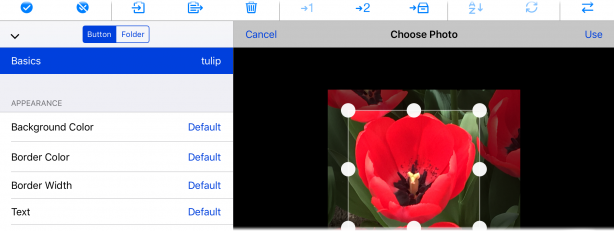 Photo picker with crop area controls