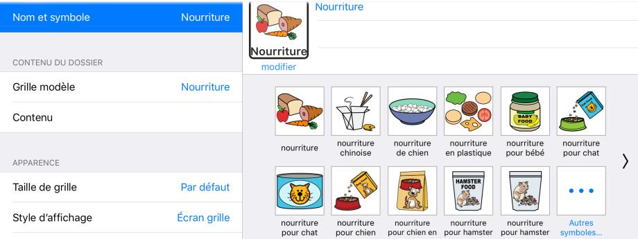 Options de nom et choix de symbole dans le mode Édition