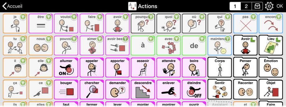 Dossier en disposition manuelle, montrant des boutons à des positions spécifiques