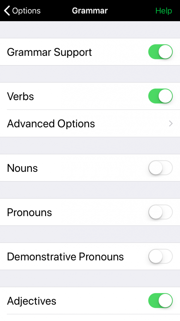 Grammar support for some word kinds only