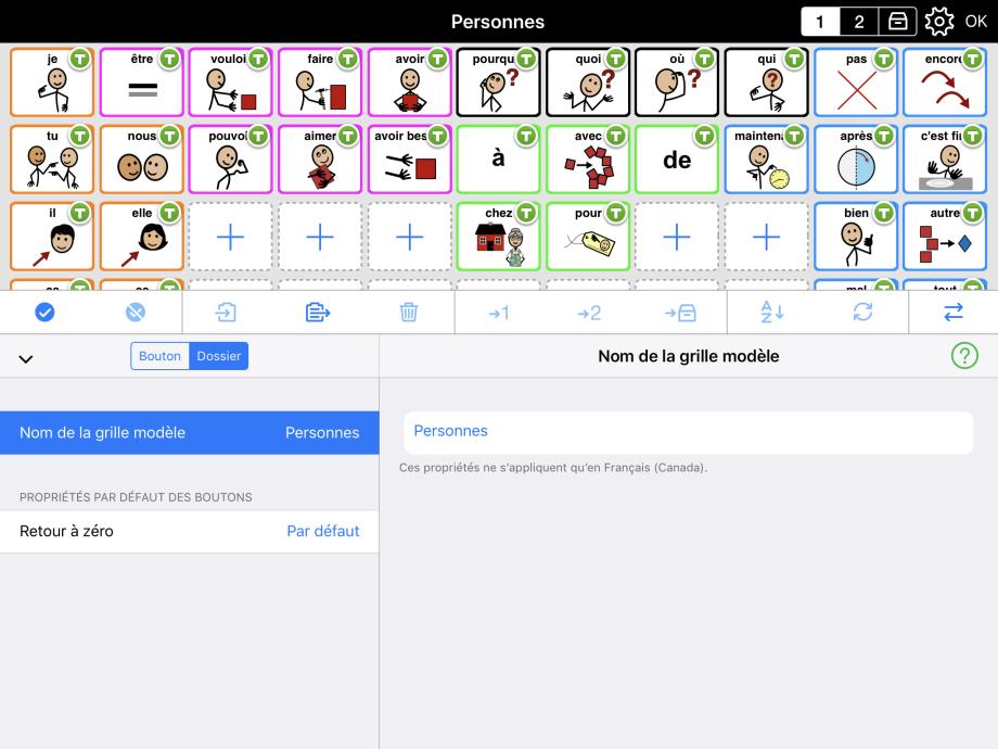 Interface d'édition de grille modèle