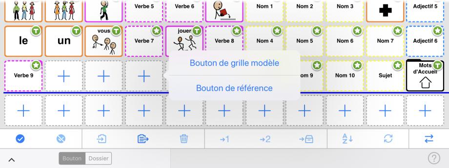 Choix entre bouton de référence ou bouton de grille modèle