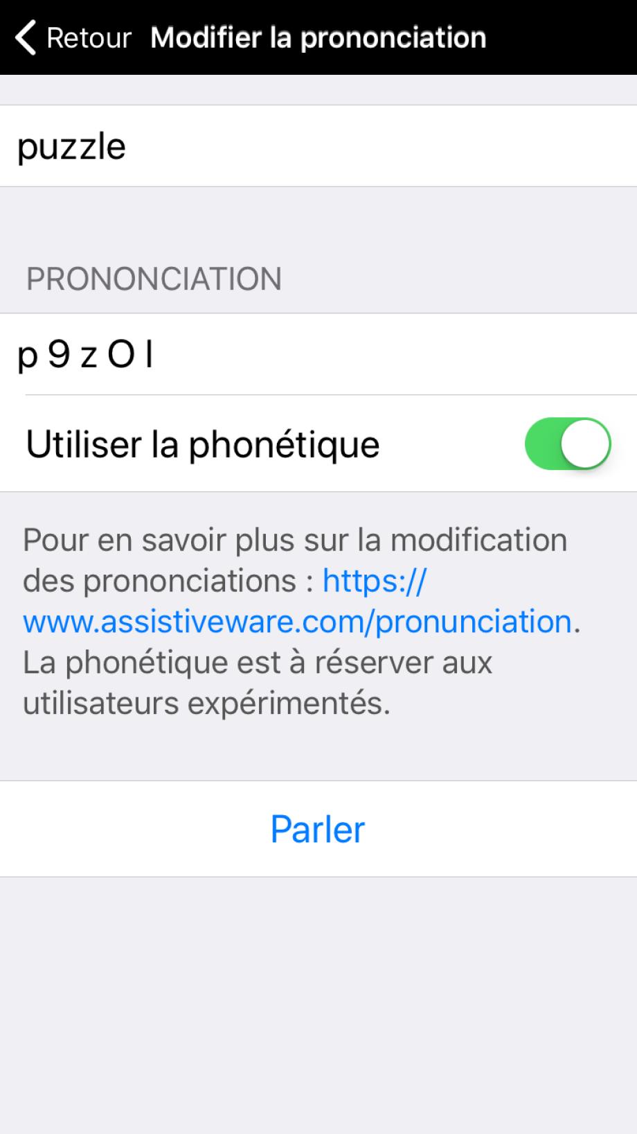 Prononciation d'un mot modifiée avec des codes phonétiques