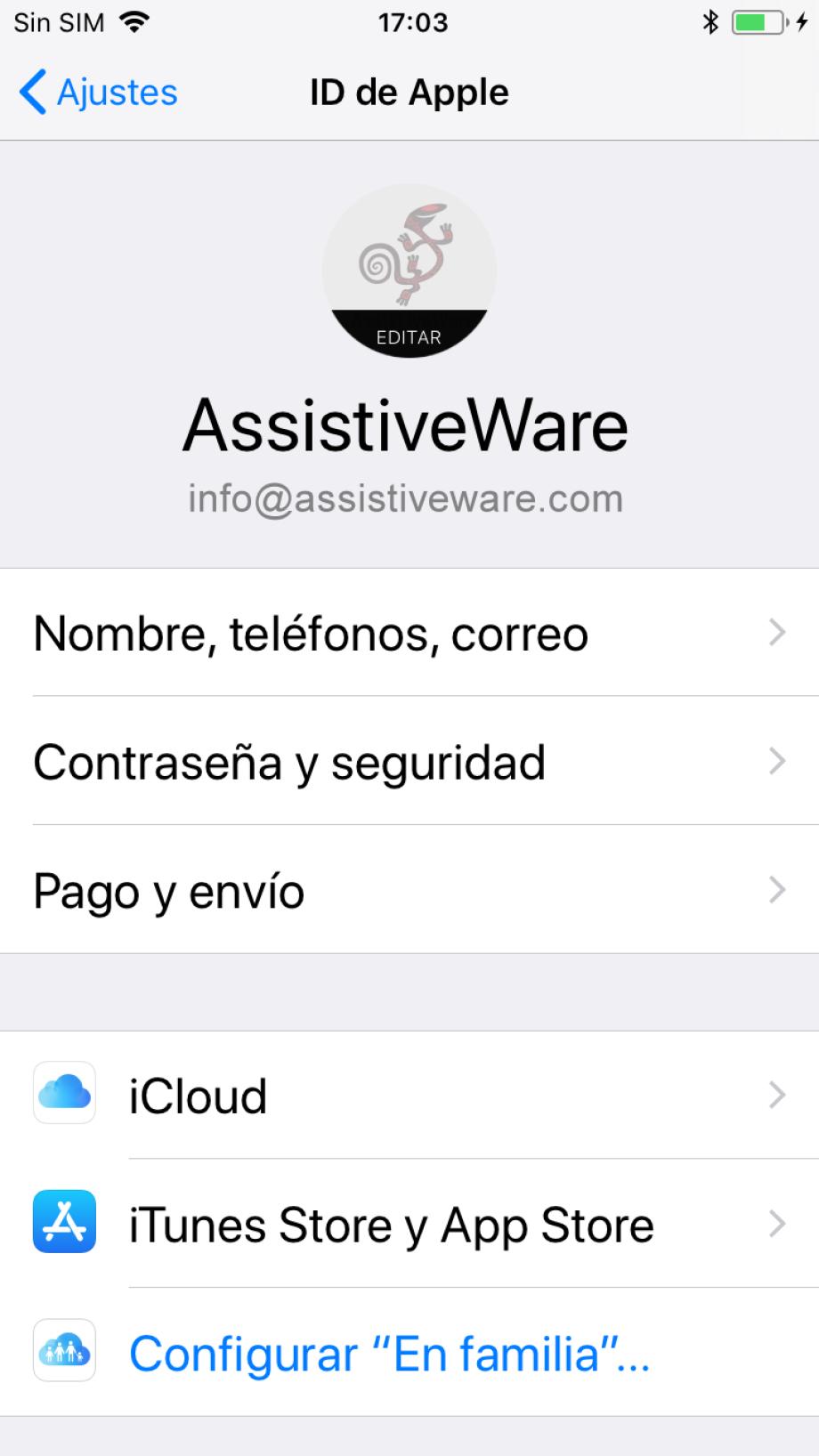Configuración de ID de Apple en la aplicación configuración