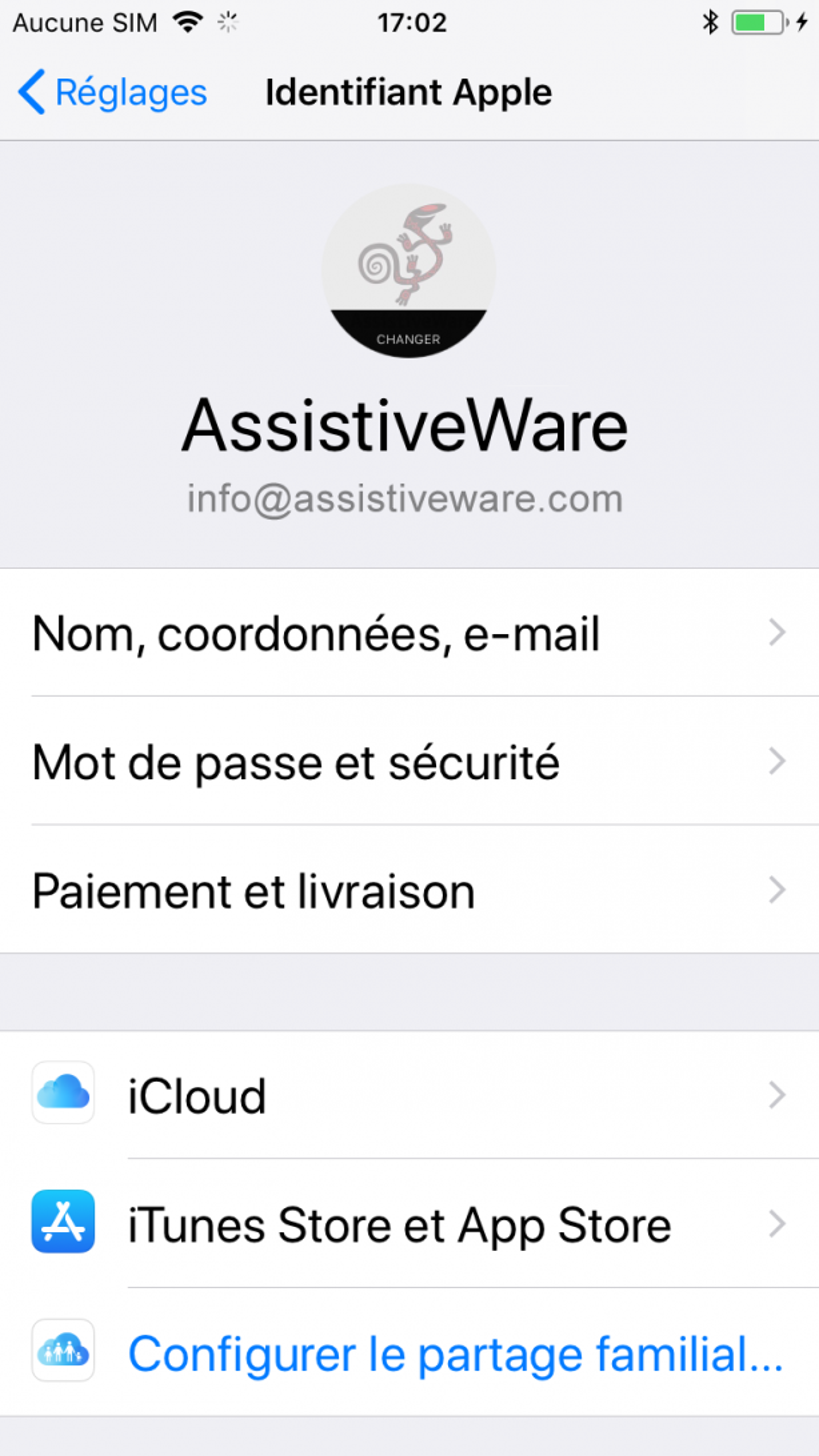 Réglages de l'Apple ID dans les réglages de l'appareil