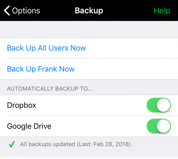Automatic backup choices for Dropbox and Google Drive