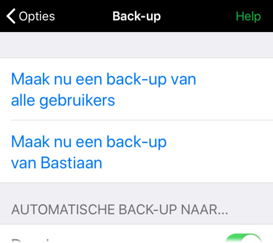 Instellingen voor automatsche back-up naar Dropbox en Google Drive.
