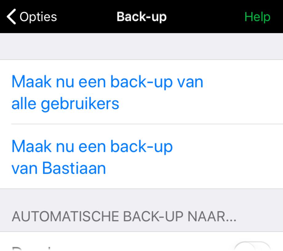 Automatische back-up naar Dropbox of Google drive staat uitgeschakeld.