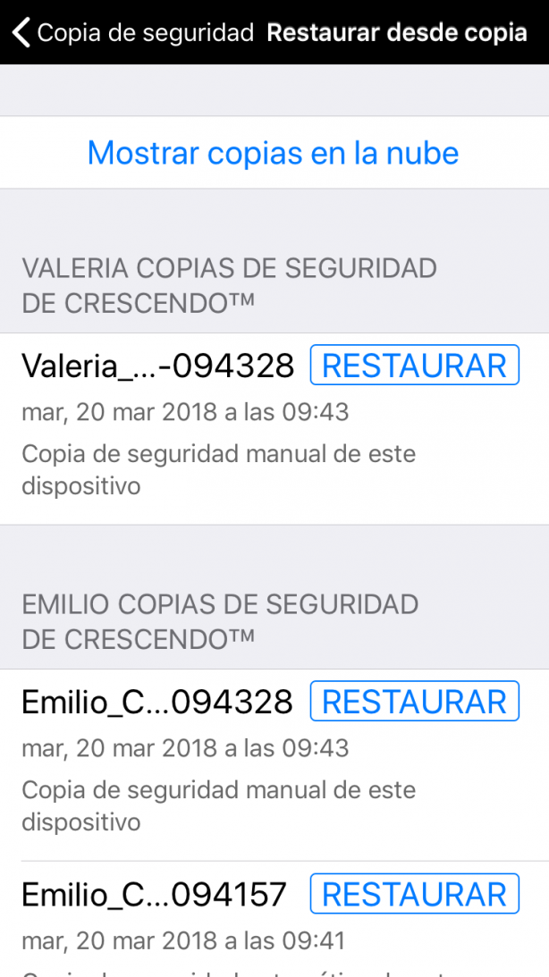 Restaurar desde copia mostrando todas las copias de seguridad disponibles