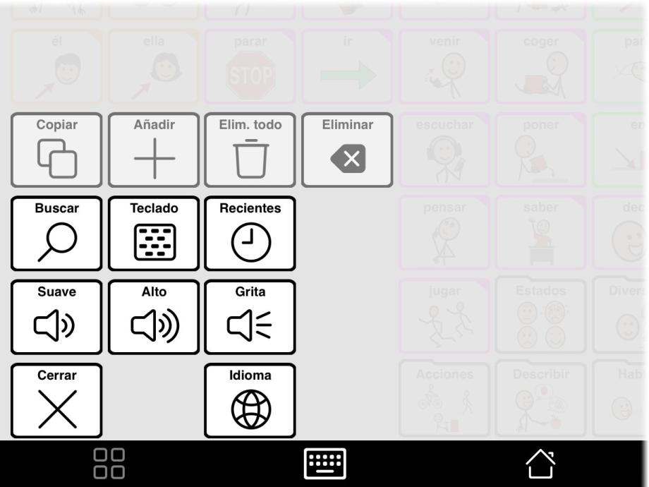 Cuadro de herramientas mostrando el botón para cambiar idioma.