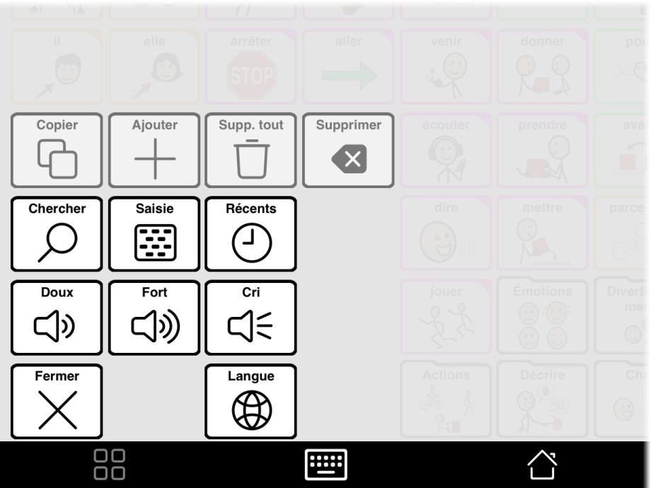 Popup outils avec le bouton pour changer de langue.