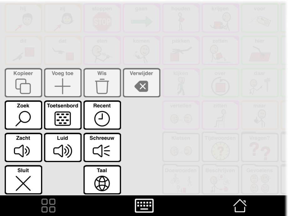 Tools pop-up met knop Taal in van actieve taal te wisselen.