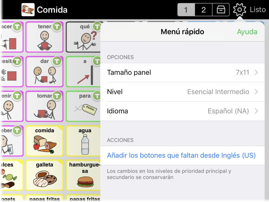 Menú rápido mostrando opción de cambiar idioma