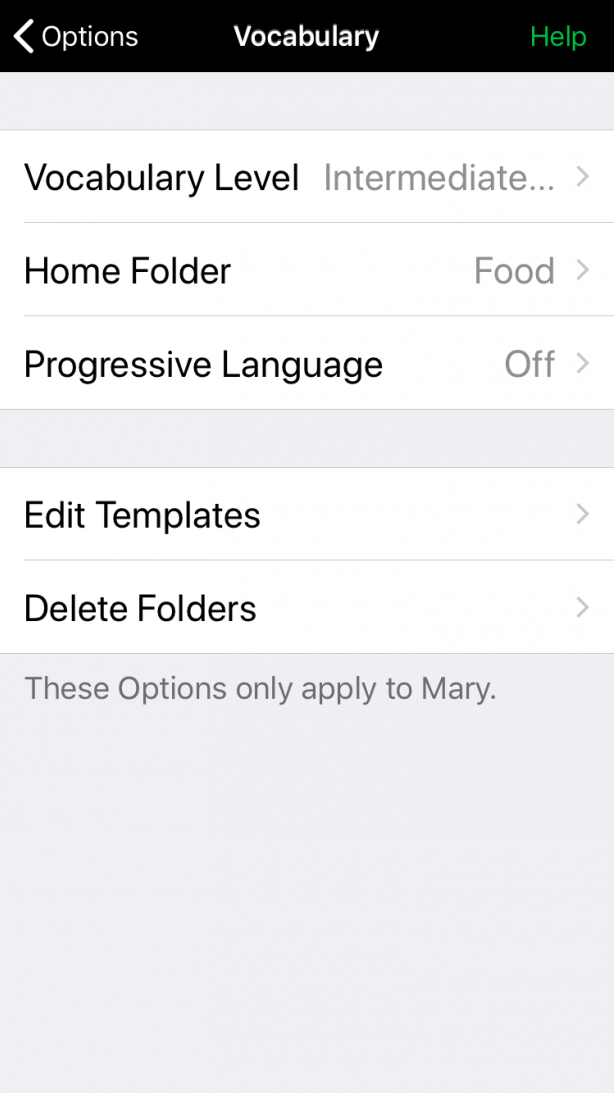 Home folder setting in Vocabulary options
