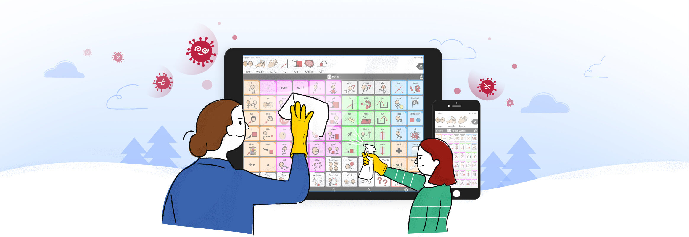 Two people wiping a screen with Proloquo2Go