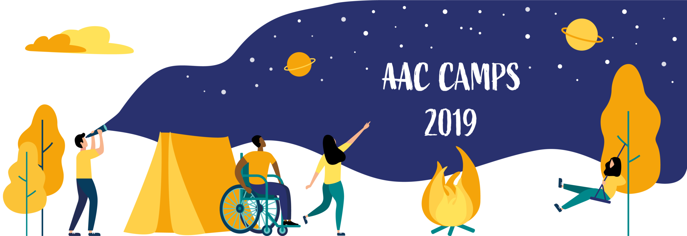 "Illustration of people in a camp setting with text ""AAC Camps 2019"""