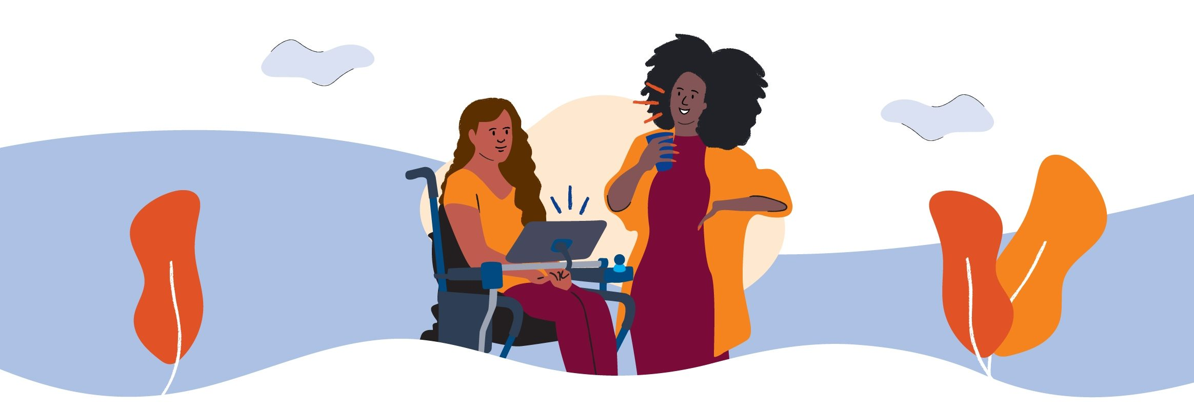 Two black women talking. One is in wheel chair using an iPad to talk. The other one is standing, chatting with the wheelchair user and holding a cup