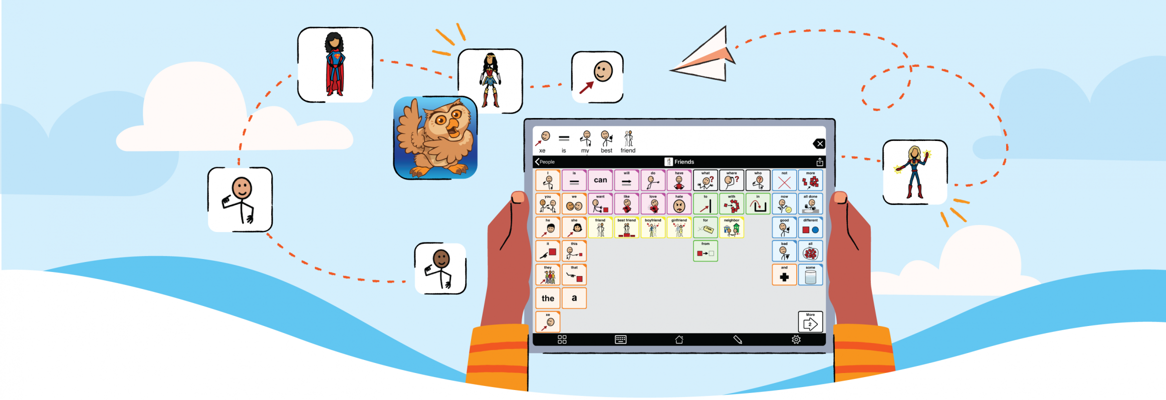 Proloquo 2 Go screen with female super heroes and gender neutral symbol