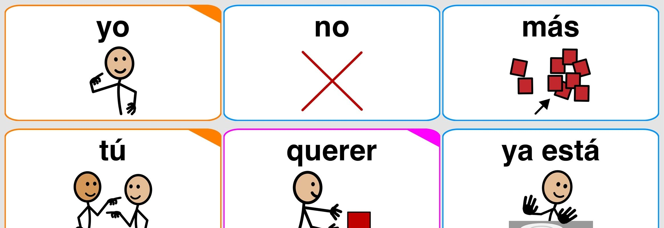 """Botones """"yo"""", """"no"""" y """"más"""""""