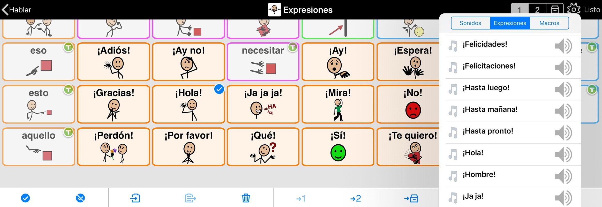Ejemplo de expresiones en Proloquo2Go