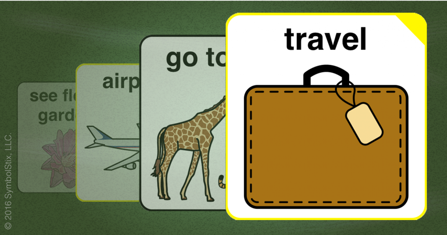 Symbol for the word travel showing the word travel on top of other travel related symbols