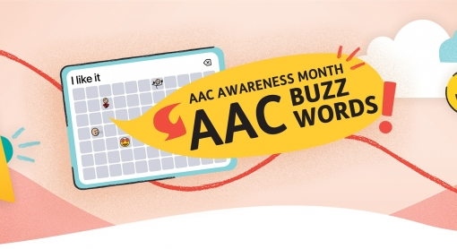 AAC Awareness Month buzzwords illustration