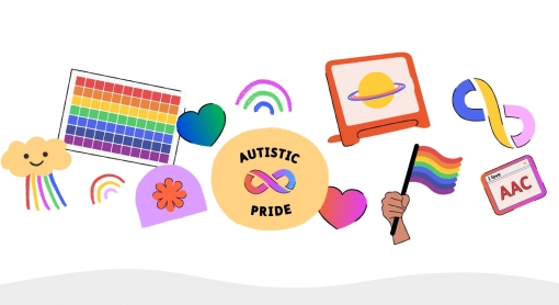 Colorful illustration celebrating Autistic pride with rainbows and hearts