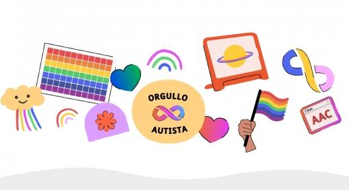 Ilustración colorida celebrando el orgullo autista con arco iris y corazones