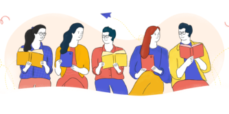 Illustration of people reading blogs and books