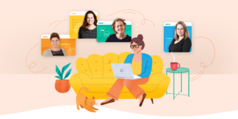 Illustration of woman on couch looking at screens with our webinar presenters