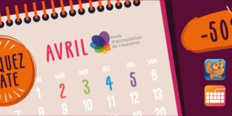 Image en surbrillance du calendrier 2 3 4 et 5 avril. Les icônes de Proloquo2Go, Proloquo4Text, Keeble et Pictello sont représentées sous un panneau indiquant une réduction de 50%.