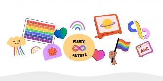Illustration colorée célébrant la fierté autiste avec des arcs-en-ciel et des coeurs