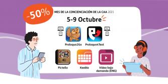 """Imagen: Íconos de Proloquo2Go, Proloquo4Text, Pictello, Keeble y videos bajo demand. En la esquina superior derecha está el logo de AssistiveWare. El texto dice """"50%, 5-9 de octubre, reserva la fecha"""". Dos usuarios de CAA están mirando el texto."""
