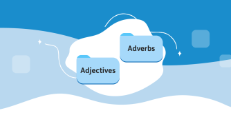 Two folders with the words Adjectives and Adverbs on a blue background