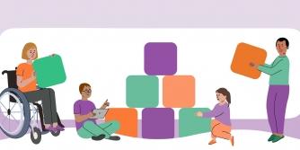 Afbeelding: vier mensen komen samen om een piramide van blokken te bouwen. Elk draagt anders bij en heeft een ander kleurblok.