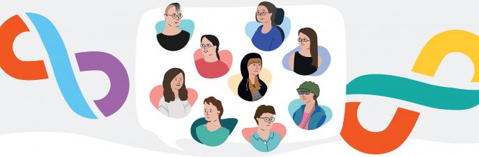 Ilustraciones de una variedad de usuarias de CAA