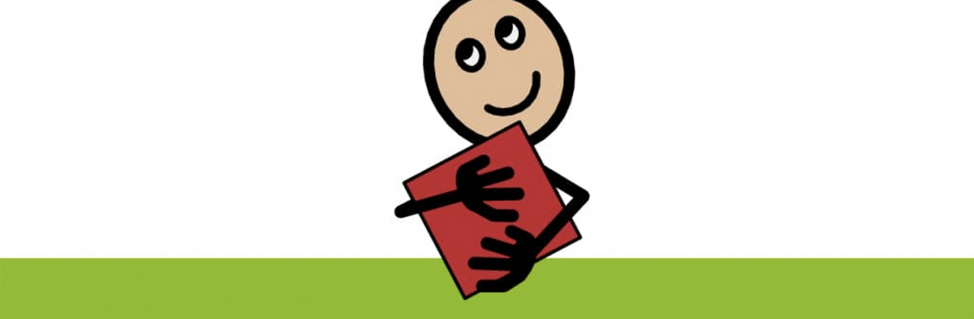 Animated child holding a book