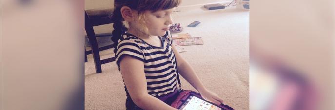 Girl communicating with iPad