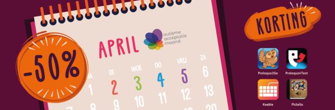 Een tekening van een kalender waarop 2, 3, 4 en 5 april zijn uitgelicht en de iconen voor Proloquo2Go, Proloquo4Text, Keeble en Pictelle waarboven -50 staat