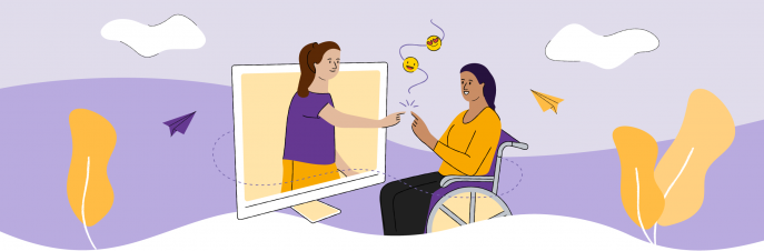 Illustration of a girl on a wheelchair reaching out to a girl coming out of the computer screen