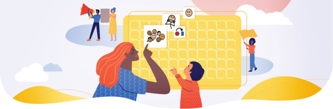Mother and child using AAC to talk about protest happening
