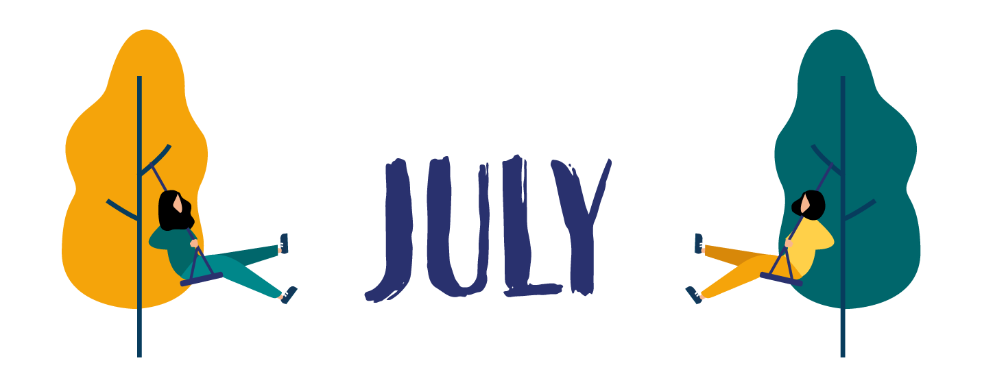 "Illustration with text ""July"""