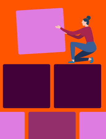 Illustration of lady playing with blocks