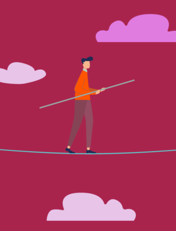 Illustration of a man walking a tightrope